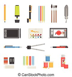 Drawing Tools Icons Flat Set - Painter and graphic designer...
