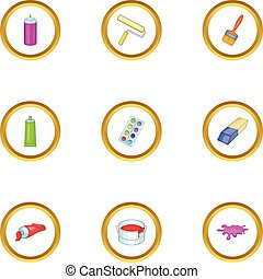 Drawing tools icons set, cartoon style - Drawing tools icons...