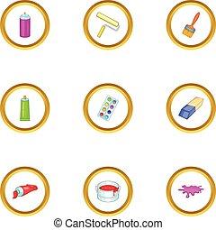 Drawing tools icons set, cartoon style - Drawing tools icons...