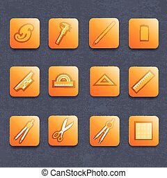 Drawing Tools Icons Set - Drawing and architector tools...