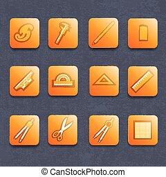 Drawing Tools Icons Set - Drawing and architector tools...