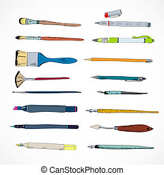 Drawing tools icons sketch - Decorative drawing artist flat...