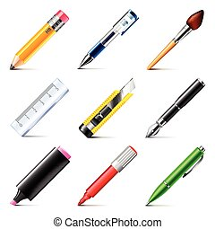 Drawing tools icons vector set - Drawing tools icons...