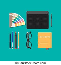 Drawing tools isolated, equipment for designer, working...