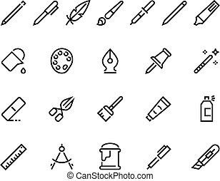 Drawing tools line icons. Minimal pencil pen brush bucket pallet stroke pictograms, writing and art web interface symbols. Vector set