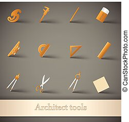 Drawing Tools Set - Drawing tools icons set with ruler...