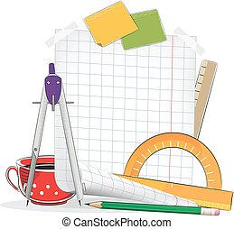 Drawing tools - Sheet of paper and drawing tools on a white...