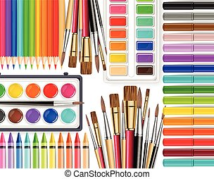 Drawing tools Vector realistic top view. Brush, watercolor palette, pencils, crayons. Detailed 3d illustrations