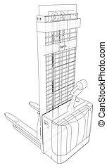 drawing., tracer, résumé, illustration, petit, forklift., entrepôt, 3d