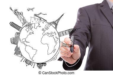 Drawing travel around the world (Japan, France, Italy ,New York, India, egypt, china, london, brazil)