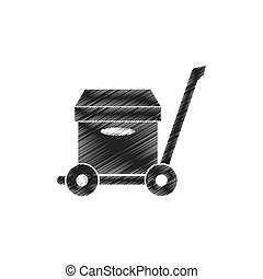 drawing trolley cardboard box delivery concept pictogram