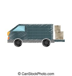 drawing truck delivery transport cardboard box