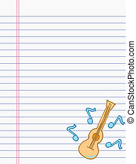Drawing ukulele on paper
