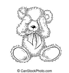 Drawing unhappy Teddy Bear closing eyes. Black and white vector illustration