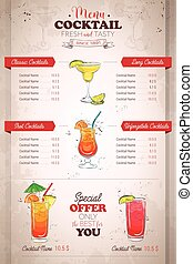 Drawing vertical color cocktail menu design