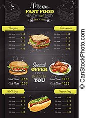 Drawing vertical color fast food menu design