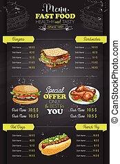 Drawing vertical color fast food menu design