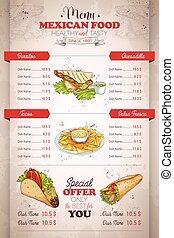 Drawing vertical color mexican food menu