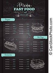 Drawing vertical scetch of fast food menu