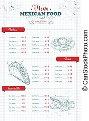 Drawing vertical scetch of mexican food menu