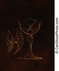 Drawing vintage goblet, draw and black background.