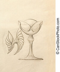Drawing vintage goblet, draw on old paper.