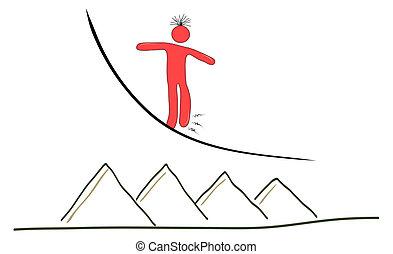 drawing walking a tightrope, seeking balance