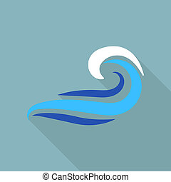 Drawing wave icon, flat style