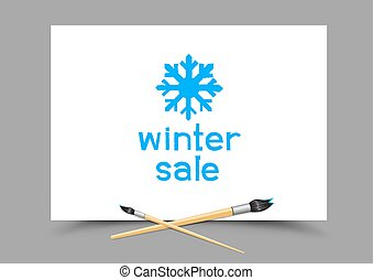 drawing winter sale on paper - White paper with winter sale...