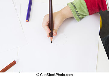 Drawing with a brown pencil