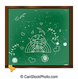 drawing with chalk on a blackboard