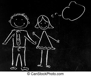 drawing with chalk on black background boy and girl