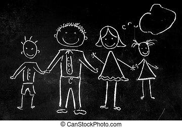 drawing with chalk on the black background of the family