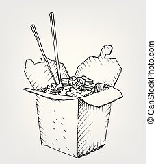 Drawing wok box with sticks. Rice or noodle food