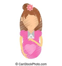 drawing woman pregnant waiting expectant vector illustration...