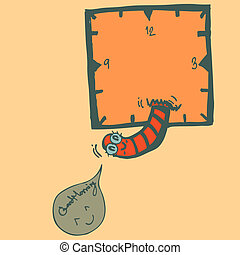 Drawing worm with clock