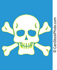 drawing yellow and white skull with bones and blue background