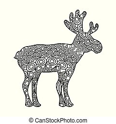 drawing zentangle for deer adult coloring page