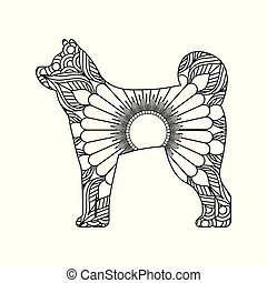 drawing zentangle for dog adult coloring page