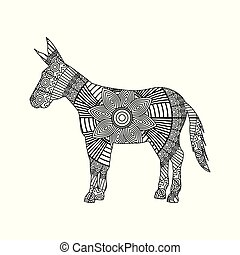 drawing zentangle for donkey adult coloring page