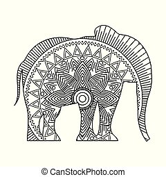 drawing zentangle for elephant adult coloring page