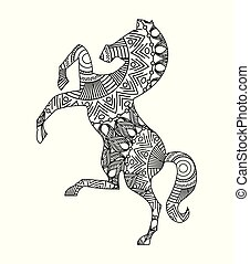 drawing zentangle for horse adult coloring page