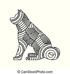 drawing zentangle for sitting dog adult coloring page