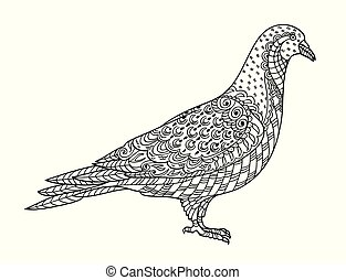 Drawing zentangle pigeon, for coloring book for adult or other decorations