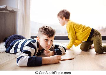 drawing., zwei kinder, spielende , daheim, glücklich