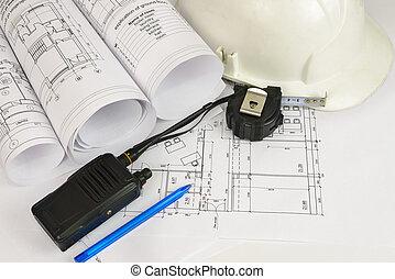 drawings., construction, architecte, lieu travail