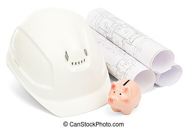 Drawings for building house, piggy bank and helmet