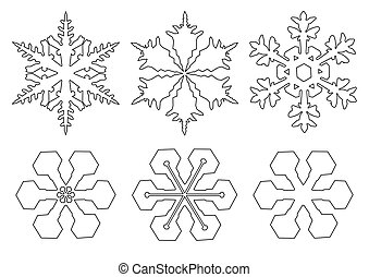 drawings of flakes of snow on white background