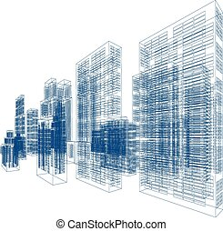 Drawings of skyscrapers and homes. Vector illustration...