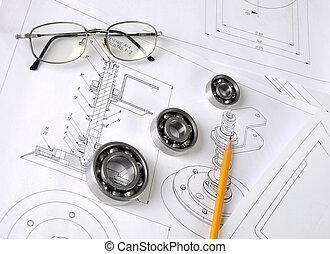 Drawings of the engineer of mechanical engineering.